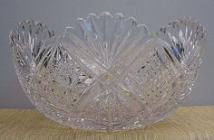 "Spectacular Antique 14"" American Brilliant Cut Glass Bowl"