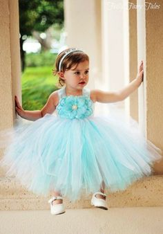 Tiffany Blue Flower Girl Dress.