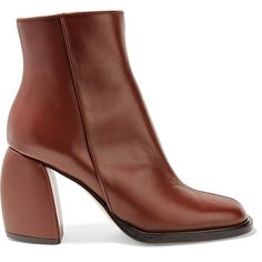 TibiRachel Leather Ankle Boots (€535) ❤ liked on Polyvore featuring shoes, boots, ankle booties, brown, leather booties, brown ankle booties, short boots, brown ankle boots and block heel booties