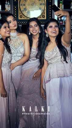 #Episode5 #RealBridesmaidsofKalki Are you not blessed with the best girlfriends in the world? Well, one of our #KALKIBrides has been fixed, and we planned on this one big 'Bride & Bestie' photoshoot for her and her #squad before she bids goodbye to singlehood.Also we got you a list of all sorts of 'must-have' picture ideas - from the cheesy ones to the most boujee ones. Indian Dresses, Indian Outfits, Party Wear Dresses, Episode 5, Sexy Body, Picture Ideas, Besties, Girlfriends
