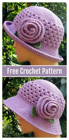Sun Hat with Flower Free Crochet Pattern #freecrochetpatterns #hat