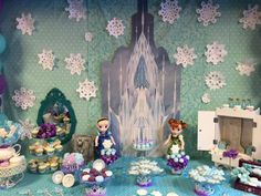Pretty dessert table at a Frozen birthday party! See more party planning ideas at CatchMyParty.com!