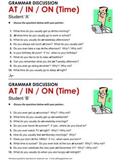 English Grammar Discussion, Prepositions of Time: at, in, on. Learn English Grammar, Learn English Words, English Phrases, English Fun, English Language Learning, English Writing, English Study, English Lessons, English Tips