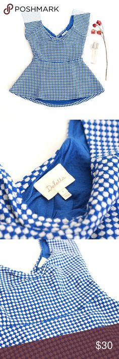 Deletta Anthropologie Open Back Top Lovely Deletta from Anthropologie Blouse. Size small. Blue and white with polka dots. Gorgeous keyhole open back style. Super comfortable fabric with stretch. Clean condition. Anthropologie Tops