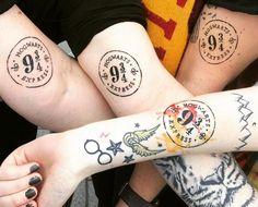 Rocking Matching Harry Potter Symbol Tattoos #harrypottertattoomeaning #harrypot