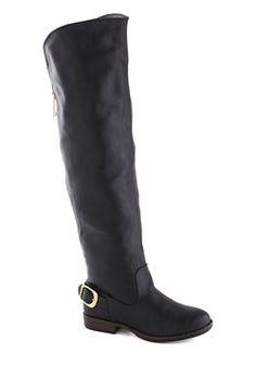 Side by Sidecar Boot in Black. As your best friends motorbike comes to a stop, you swing your legs over the sidecars edge while these over-the-knee boots draw attention to your arrival. #black #modcloth