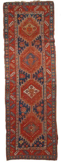 Handmade antique Caucasian Kazak runner 2.9' x 9.8'