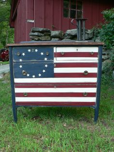 Love this flag painted dresser from Stripey Cat Production! for Wy's bedroom!!