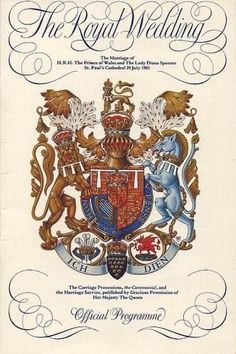 Wedding program cover for Charles and Diana.