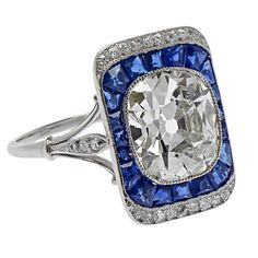 French Edwardian Cushion Cut Sapphire Diamond Platinum Engagement Ring | From a unique collection of vintage fashion rings at https://www.1stdibs.com/jewelry/rings/fashion-rings/