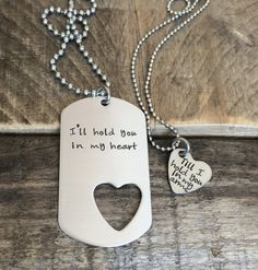 Ill hold you in my heart his and her gift stainless steel heart tag hand stamped dog tag military couple jewelry Long Distance Relationship by CMKreations Diy Gifts For Girlfriend, Cute Boyfriend Gifts, Necklace For Girlfriend, Birthday Gifts For Boyfriend, Military Gifts For Boyfriend, Boyfriend Presents, Military Couples, Dog Tags Military, Military Marriage