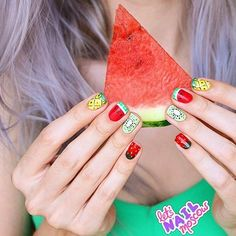 CUTES/TANLINES --- Get your #dailydose of fruits in with this #manicure by @letsnailmoscow! 🍓🍉🍍