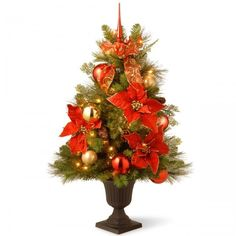 Small Christmas Tree Lighted Entrance Tree With Clear Lights Decorative Holidays #TreeCompany