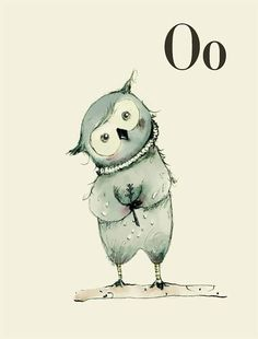 O for Owl  Alphabet art  Alphabet print  wall art  ABC por holli, $20.00