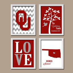 University of Oklahoma OU Boomer Sooner College Custom Family Monogram Initial State LOVE Bird Tree Wedding Date Set of 4 Prints Wall Decor cute if it was bama University Of Oklahoma, Oklahoma Sooners, Boomer Sooner, Bird Tree, Tree Wedding, Crafty Craft, Monogram Initials, Decir No, Projects To Try
