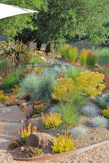 pea gravel between plants