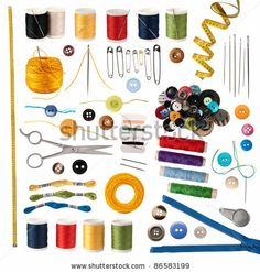 stock photo : Sewing accessories isolated on white