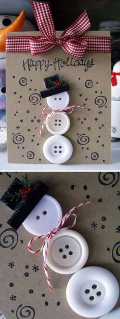 3 Button Snowman Card.