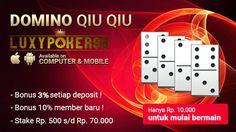 Modal kecil main judi domino qq deposit 10rb ? siapa bilang tidak ada,di luxypoker99 menyediakan untuk anda semua judi domino qq online deposit 10rb.