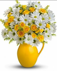 teleflora sunny day pitcher of daisies bouquet