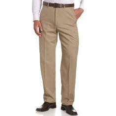 Haggar Men's Cool 18 Heather Gabardine Flat Front Pant,British Khaki,38x29 (Apparel)