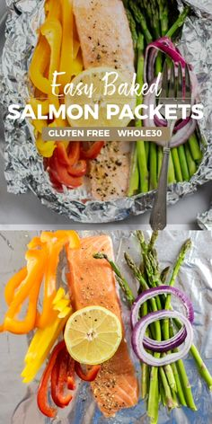 This easy oven baked salmon recipe is the perfect dinner to stay on the healthy eating track this year! I love to make these when I don't want to cook — takes minutes to put together, and there are no dishes to clean up! Make these easy salmon foil packets for meal prep! | SUNKISSEDKITCHEN.COM | #SunkissedKitchen #salmon #baked #ovenbakedsalmon #foilpackets #easydinnerrecipes #healthydinnerrecipes