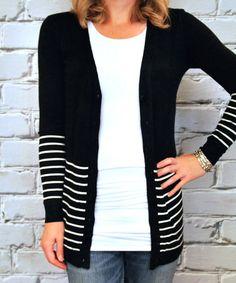 Another great find on #zulily! Black & White Stripe V-Neck Cardigan by Olivia & Jane #zulilyfinds