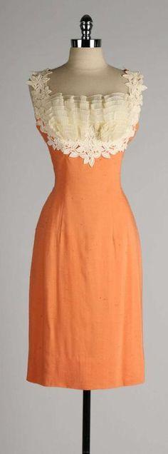 Vintage 1950's Lilli Diamond Apricot Lace Cocktail Dress by francesca-caas