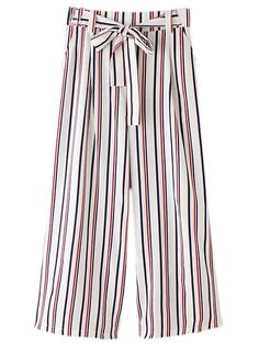 Buy Multicolor Vertical Stripe Pockets Tie-waist Bow Wide Leg Pants from abaday.com, FREE shipping Worldwide - Fashion Clothing, Latest Street Fashion At Abaday.com