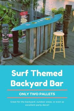 Outdoor Furniture Pallet Only Two Pallets Made This Totally Tubular Surf Themed Backyard Bar - I used two pallets to make this Surf Themed Backyard Bar. Share your love of the sport - or adapt it to your favorite - when having friends over! Backyard Plants, Backyard Bar, Backyard Landscaping, Landscaping Ideas, 1001 Pallets, Recycled Pallets, Pool Bar, Outdoor Tiki Bar, Outdoor Decor