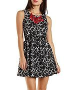 Floral Jacquard Flounce Skater Dress--Another nice work dress, especially with necklace