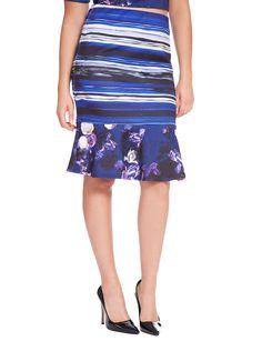 Printed Peplum Hem Skirt   Women's Plus Size Skirts   ELOQUII.com