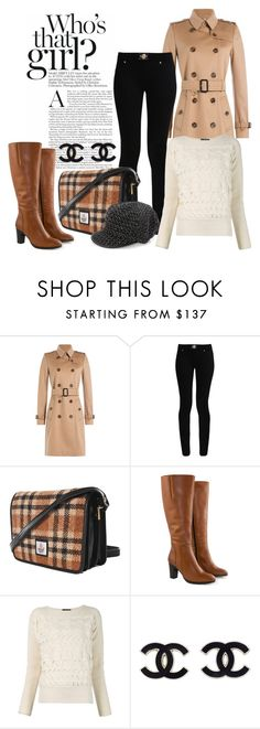 """""""Tweed Bag & Cap"""" by hastypudding ❤ liked on Polyvore featuring Burberry, Versace, Maccessori, Jilsen Quality Boots, Alexander McQueen, Betmar, tweed and fashionset"""