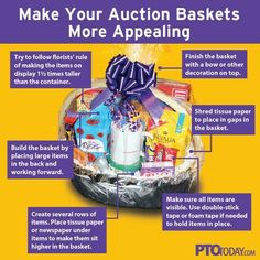 We know room parents are often contacted during school auction planning and asked to create a class basket that can be donated to the big event. For those of you who haven't spent much time putting together gift baskets, we've got a great resource for you Fundraiser Baskets, Raffle Baskets, Gift Baskets, Quarter Auction, Chinese Auction, Theme Baskets, Auction Projects, Auction Ideas, School Projects