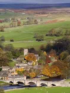 Burnsall village in autumn, North Yorkshire, England