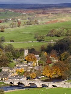 Burnsall village in autumn, North Yorkshire, England