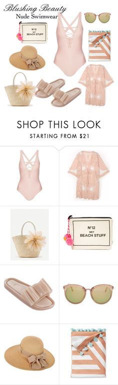 """""""Blushing Beauty"""" by sibsandco on Polyvore featuring Topshop, WithChic, Bag-All, Melissa, Serena & Lily, modern and nudeswimwear"""