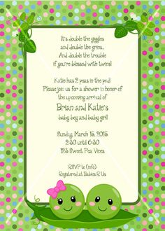 Two peas in a pod twins baby shower invitation shower invitations got a pea in the pod or two or three please specify background baby shower filmwisefo