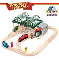 Talking Thomas and Friends wooden railway train set at Knapford station Thomas James and Percy tank  sc 1 st  Pinterest & Thomas the Train Track Layouts | Pinterest | Thomas train Train ...