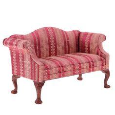 1/6 Puppenhaus Wohnzimmer Möbel Aus Holz Doppelcouch Sofa Modell Rot