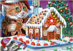 ACEO ORIGINAL CHRISTMAS TREE KITTEN TABBY MOUSE GINGERBREAD HOUSE SNOW