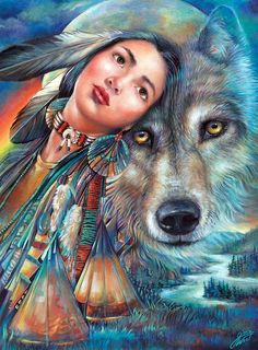 Native American art, American Indian art by noted painter Gloria West. Native American Wolf, Native American Pictures, Native American Artwork, Native American Beauty, American Indian Art, American Indians, Indian Wolf, Native Indian, Native Art