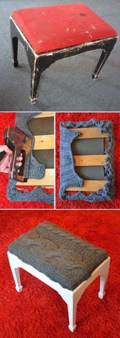 {DIY Bench Makeover} Using an Old Cable Sweater to Recover the Seat