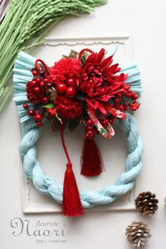 Japanese New Year wreath 2015 New Years Decorations, Christmas Decorations, Holiday Decor, Xmas Holidays, Holidays And Events, Japanese Floral Design, Japanese New Year, Xmas Wreaths, How To Preserve Flowers