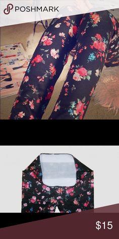 """coming soon: Flower black leggings """"Like"""" to be notified when it arrives Pants Leggings"""
