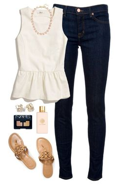 peplum by classically-preppy ❤ liked on Polyvore featuring J Brand, Madewell, Tory Burch, J.Crew, Kate Spade and NARS Cosmetics