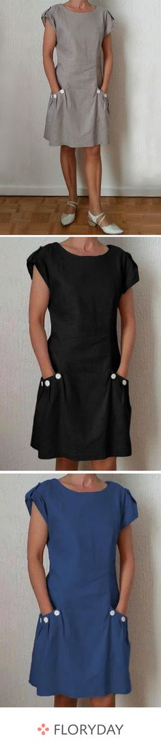 Above-knee dress with plain short sleeves Cute Outfits With Jeans, Cute Outfits For School, Basic Outfits, Casual Fall Outfits, Leather Leggings Look, French Outfit, Crop Top And Shorts, Couture Sewing, Sewing Clothes