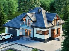 ZdjÄ™cie projektu Alicja N Dream House Exterior, Dream House Plans, Modern Bungalow Exterior, Home Building Design, Building A House, Bungalow Style House, House Outside Design, Architectural House Plans, Architectural Styles