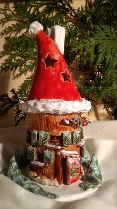 Keramik Weihnachts- Hexenhaus Windlicht/ Räucherhäuschen aus Ton