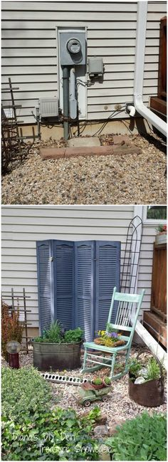 """I was looking for a way to hide the ugly but necessary utility boxes and wires on the back of the house I wanted something that looked like it belonged not something that shouted """"what are you trying to hide"""" I have a bit of an obsession with shutters so that's what I decided to use for the screen ~"""